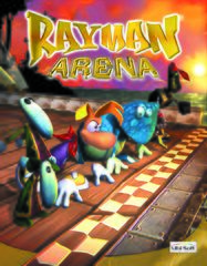 A poster for Rayman M with an early logo design.